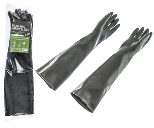 """2Pc - 24"""" Arm Length Gold Panning Rubber Gloves with Textured Grip"""